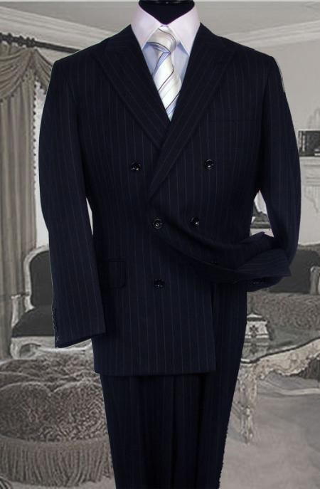 Product# GB2356 Double Breasted Color Navy Blue Shade Suit With Side Vent Jacket Pleated Slacks Pants