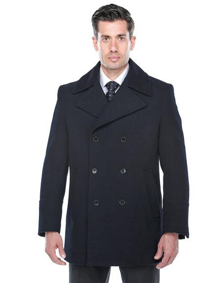 Product# CH1927 Mens Double Breasted Wool blend Overcoat ~ Topcoat in navy