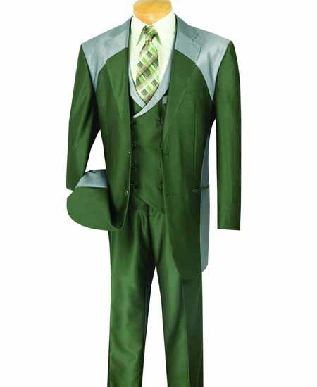 JSM-615 Men's Olive 3 Piece Sharkskin Shiny Two Toned