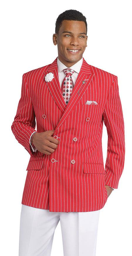 Gangester 1920s Clothing Bold Chalk Bold Pinstripe Red Double Breasted Suits (White Pants)