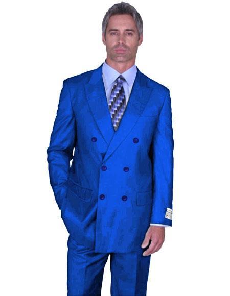 men's Double Breasted Peak Lapel Royal Blue Suit For Men Perfect  Suit Side Vented