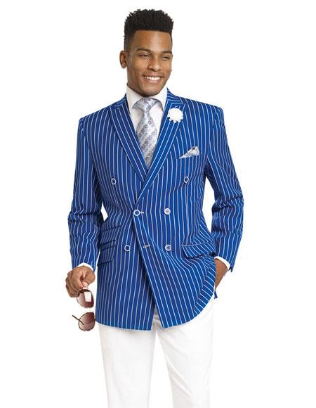 Gangester 1920s Clothing Bold Chalk Bold Pinstripe Royal Double Breasted Suits (White Pants)