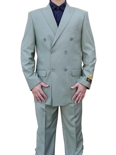 Product# JS371 Alberto Nardoni Best Mens Italian Suits Brands Double breasted Suit for Men Sage ~ Light Green