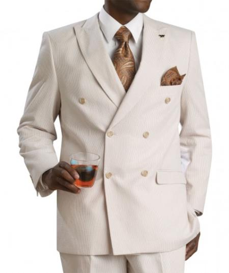 Suit Double Breasted Summer Cheap priced men's Seersucker Suit Sale Fabric - Tan khaki Color ~ Beige
