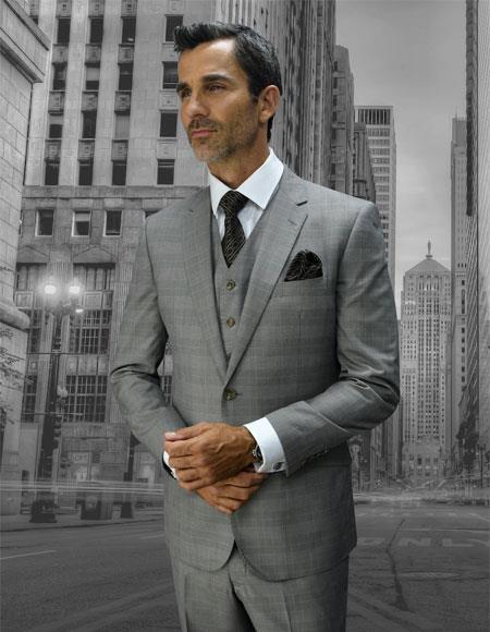 STZV-750 Men's Statement Plaid Double Breasted Vest Tan 2 Button Suit