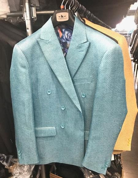 men's Double breasted blazer sport coat jacket Turquoise