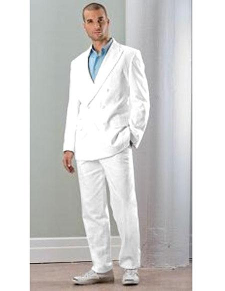Mens White Linen Double