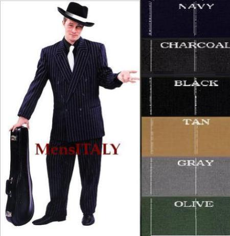 Chalk Double Breasted 6 on 2 Any Color & pronounce visible White Pinstripe Suit