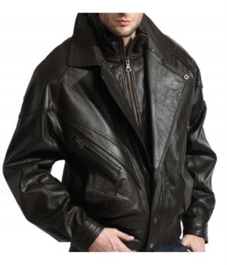 Product# PN96 A Classic, Double-Collared Leather Bomber Jacket In A Premium Grade Lambskin Liquid Jet Black Available in Big and Tall Sizes