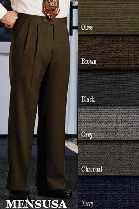 Product# ARG256 Double-Pleated Slacks Slaks / Dress Pants Front Pants Superior Fabric 120's Wool Fabric Dress Slacks lined to knee Harwick Made In USA America