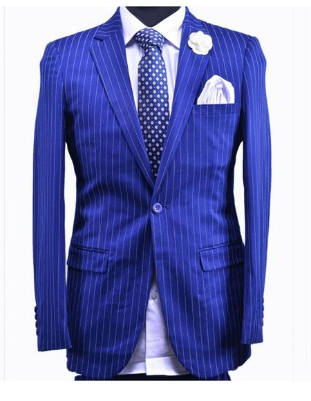 Product# JSM-6031 Mens Royal ~ Indigo ~ Cobalt New Blue 1 Button Stripe Suit