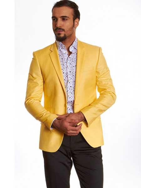 Dylan Yellow 2 Button Style Single Breasted Notch Lapel European Fit Blazer Online Sale