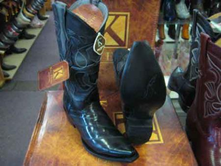 Product# SM192 King Exotic Gray Snip Toe Genuine Eel Leather Piping Western Cowboy Boot EE