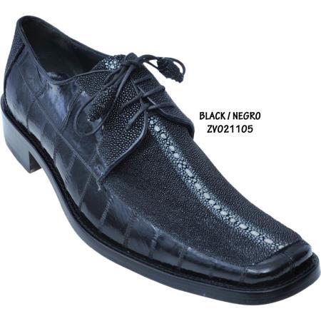 Product#BP90 Exotic Stingray/Eel Skin Shoe Liquid Jet Black