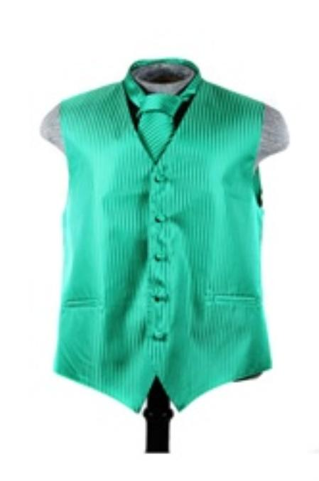 Product# VS6255 Vest Tie Set Emerald