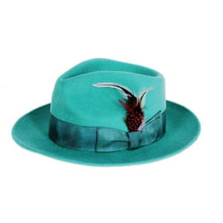 Product# PN63 Emerald Wool Fabric Felt Fedora