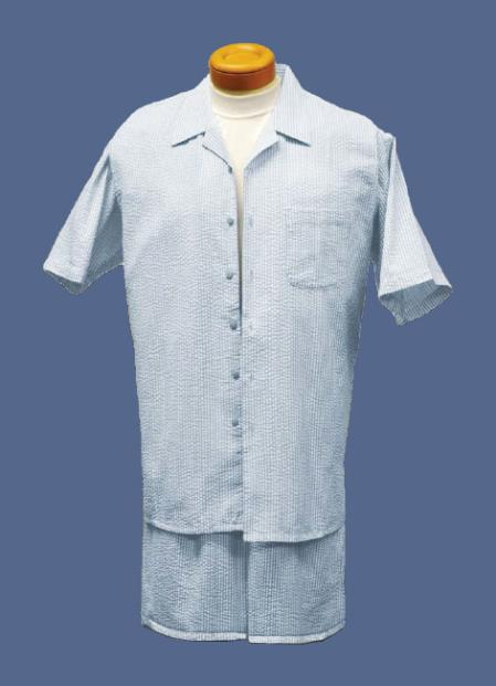 Product# BM1740 Short Set Cheap priced Mens Searsucker Seersucker Sale Fabric Walking Sky Blue Suits / Beach Wedding Attire For Groom