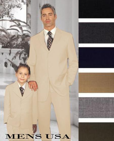 1 + 1 Boy Matching Set For Both Father And Son 2 or 3 Buttons Style option Wool Fabric Boys And Men Suit For Teenagers Beige