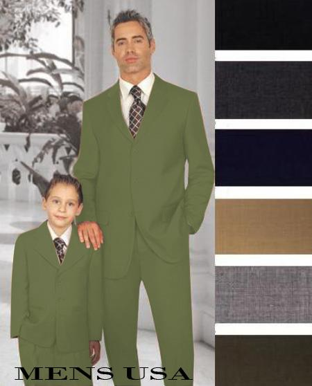 1 + 1 Boy Matching Set For Both Father And Son 2 or 3 Buttons Style option Wool Fabric Boys And Men Suits For Teenagers Olive Green