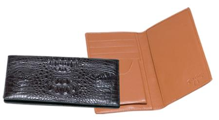 Product# QXX3 Ferrini Genuine Hornback Crocodile Checkbook Wallet in Liquid Jet Black & brown color shade