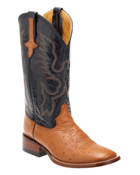 Product# G8BB Ferrini Smooth Ostrich S-Toe Boot - Cognac/Navy