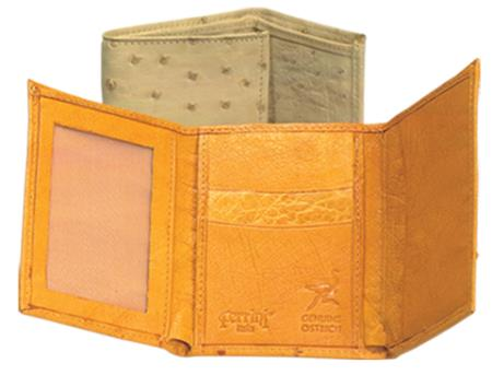 Product# TFD3 Ferrini Genuine Full Quill Ostrich Trifold Wallet in Cognac & Bone