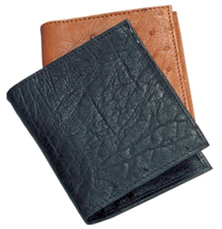 Product# RRC55 Ferrini Genuine Smooth Ostrich Wallet in Liquid Jet Black & Cognac