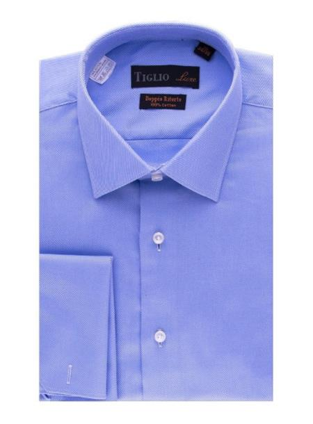 Mens Blue Cotton French