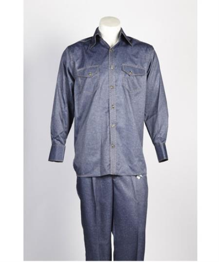Mens 6 Button Blue