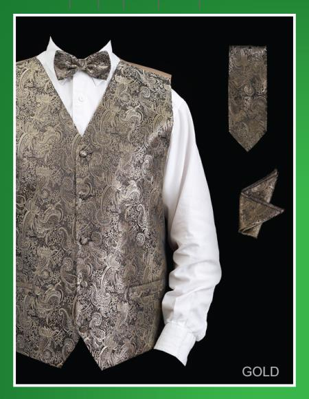 Product# KJG2 4 Piece Vest Set (Bow Tie, Neck Tie, Hanky) - Paisley Design Gold