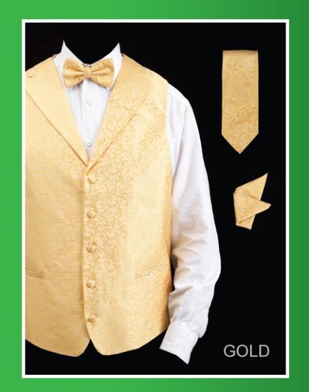 Product# HQF8 4 Piece Vest Set (Bow Tie, Neck Tie, Hanky) - Lapelled Vest Gold