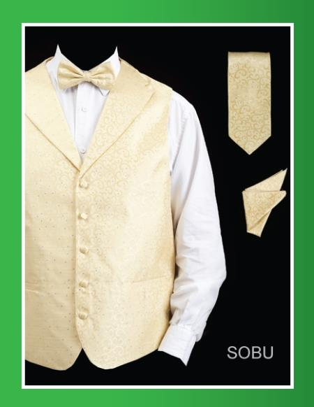 Product# SBU24 4 Piece Vest Set (Bow Tie, Neck Tie, Hanky) - Lapelled Vest Sobu