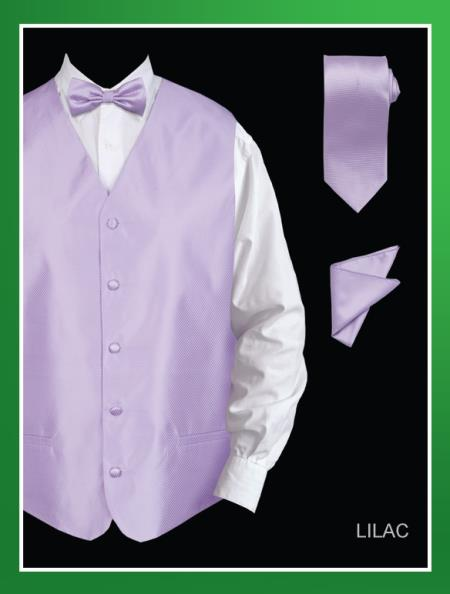 Product# LKO84 4 Piece Vest Set (Bow Tie, Neck Tie, Hanky) - Twill patterned Lilac Lavender
