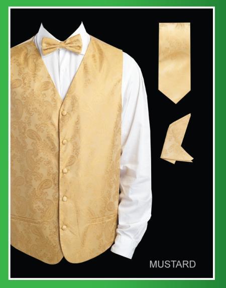 Product# RYU33 4 Piece Vest Set (Bow Tie, Neck Tie, Hanky) - Shiny Paisley Jacquard Mustard
