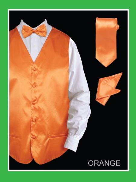 Product# BORR55 4 Piece Vest Set (Bow Tie, Neck Tie, Hanky) - Satin Orange