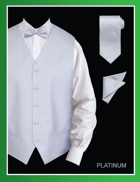 Product# PLP009 4 Piece Vest Set (Bow Tie, Neck Tie, Hanky) - Jacquard Platinum