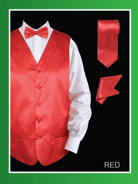 Product# red color shade42 4 Piece Vest Set (Bow Tie, Neck Tie, Hanky) - Satin red color shade
