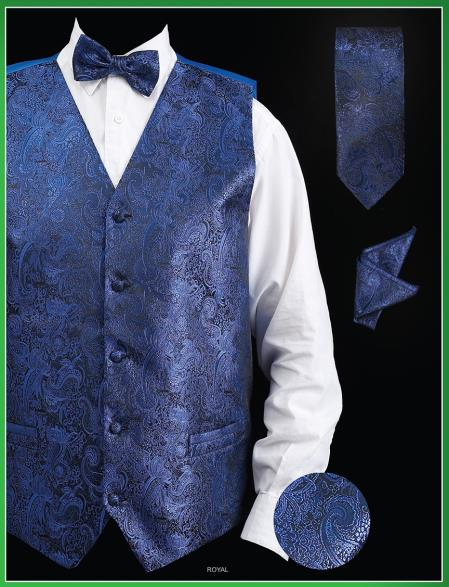 Product# UJA9 4 Piece Vest Set (Bow Tie, Neck Tie, Hanky) - Paisley Design royal blue pastel color