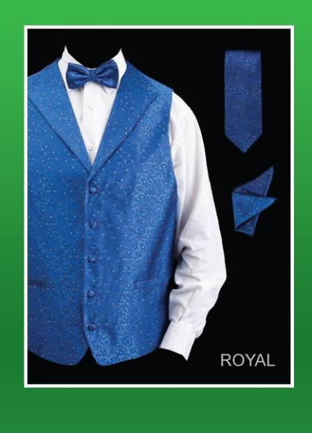 Product# KLO93 4 Piece Vest Set (Bow Tie, Neck Tie, Hanky) - Lapelled Vest royal blue pastel color