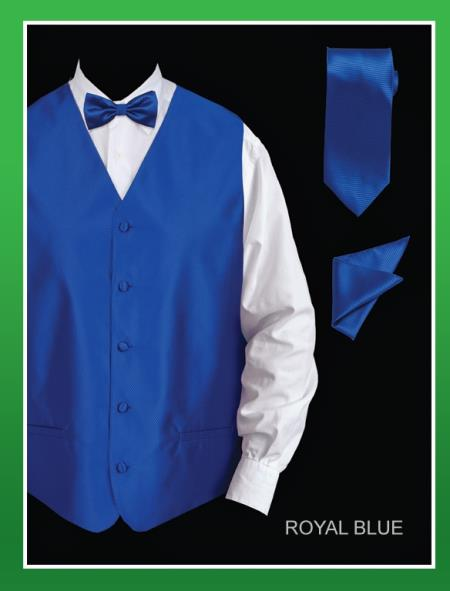 4 Piece Vest Set (Bow Tie, Neck Tie, Hanky) - Twill patterned royal blue pastel color