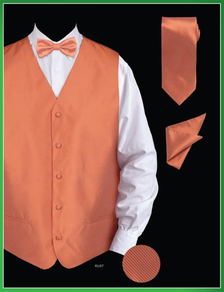 Product# SUR87 4 Piece Vest Set (Bow Tie, Neck Tie, Hanky) - Twill patterned Rust