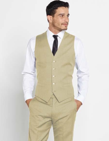 Men's Vest Matching Solid Dress Pants Set + Any Color Sand Shirt & Tie Regular Fit