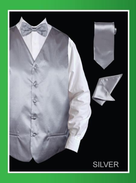 Product# SSL878 4 Piece Vest Set (Bow Tie, Neck Tie, Hanky) - Satin Silver