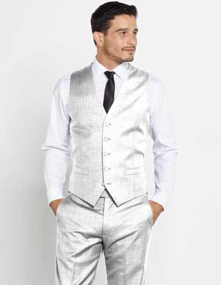 Men's Vest Silver Groomsmen Attire Outfit Matching Solid Dress Pants Set + Any Color Shirt & Tie Regular Fit