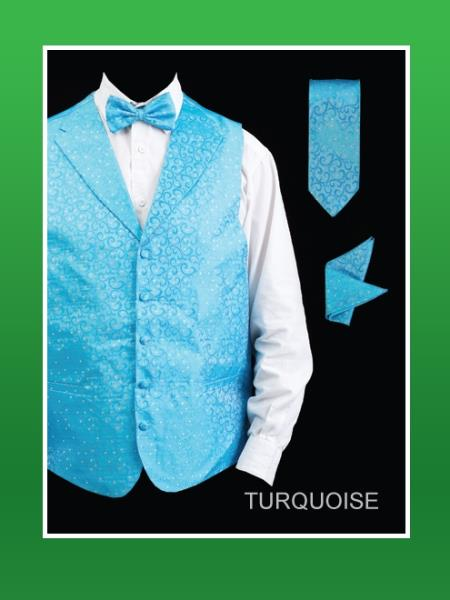 4 Piece Vest Set (Bow Tie, Neck Tie, Hanky) - Lapelled Vest turquoise ~ Light Blue Stage Party