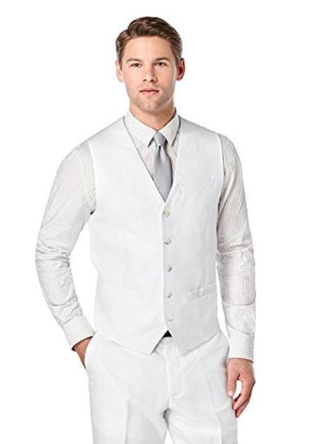 Mens White Linen Vest