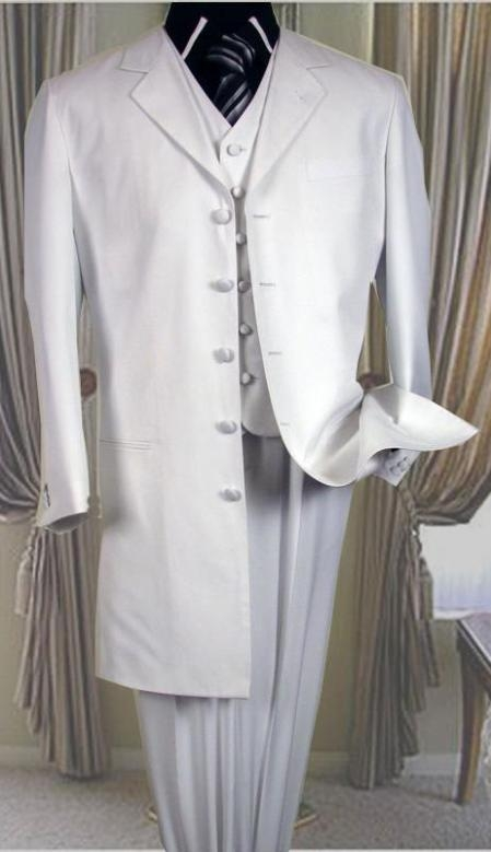 5 buttons White 3 Pc Suit ( Jacket and Pants)  For Men with vest 38 inch length jacket Notch collar