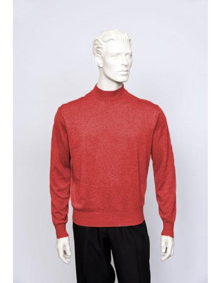 Product# CH1603 Men's TULLIANO Solid Silk Blend Brighton Mens Long Sleeve Flame Mock Neck Fine Gauge Knit Sweater