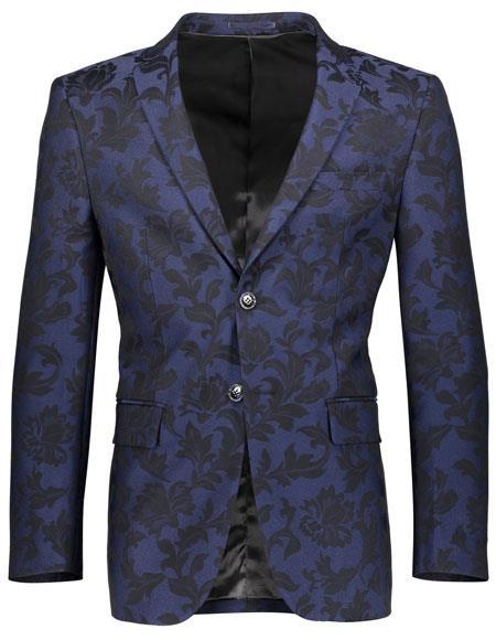 Product# JSM-6617 Mens Floral Pattern Slim Fit 2 Button Single Breasted Navy Blazer
