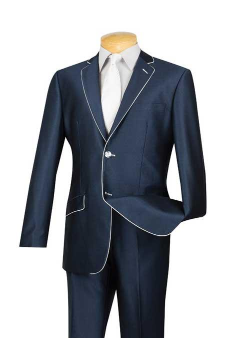 Tuxedo & Formal Slim narrow Style Fit Blue White Trim Suits for Online
